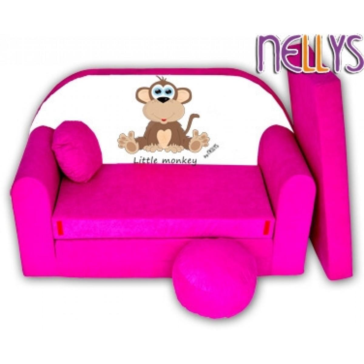 2934cf3caf41 Rozkladacia detská pohovka Little Monkey Nellys - ružová empty